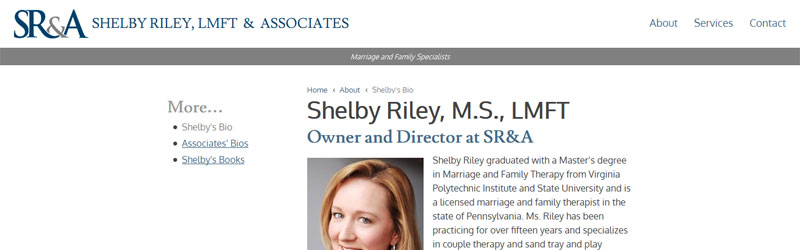 screenshot of Shelby Riley & Associates' website